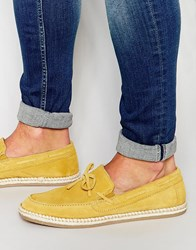 Asos Loafers With Tie Front In Mustard Yellow Suede Yellow