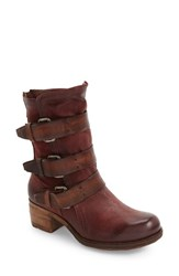 A.S.98 Women's Xyrus Buckle Strap Boot Wine