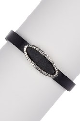 Lois Hill Sterling Silver Cutout Id Genuine Leather Bracelet No Color