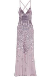 Temperley London Starlet Open Back Sequin Embellished Chiffon Gown Lilac