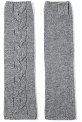 N.Peal Cashmere Cable Knit Cashmere Fingerless Gloves Gray