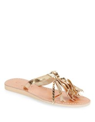 Cocobelle Fringe Leather Toe Ring Sandals Gold