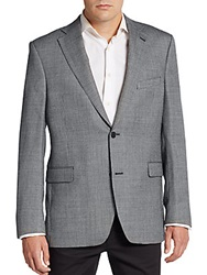 Saks Fifth Avenue Slim Fit Silk And Wool Sportcoat Black White
