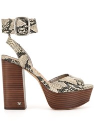 Sam Edelman Snakeskin Effect Sandals Neutrals