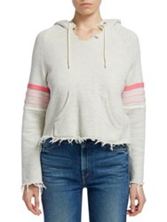 Mother Square Tear Striped Hoodie Score Multi Pink