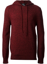 Mcq By Alexander Mcqueen Hooded Bicolour Knit Sweater Red