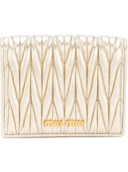 Miu Miu Quilted Wallet Nude And Neutrals