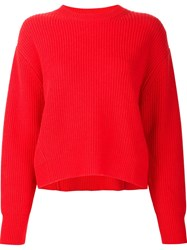 Sea Ribbed Wide Fit Jumper Red