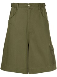 Bassike High Waisted Palazzo Shorts Green