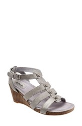 Women's Softwalk 'Jacksonville' Leather Wedge Sandal Silverwash Leather
