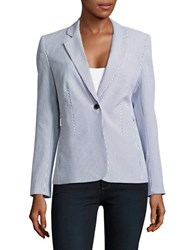 Ivanka Trump Striped One Button Blazer Navy Ivory