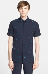 Neil Barrett 'Micro Liberty' Trim Fit Print Short Sleeve Sport Shirt Blue