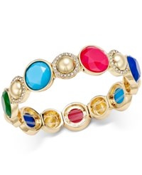 Charter Club Gold Tone Pave Colored Stone Stretch Bracelet Only At Macy's Multi