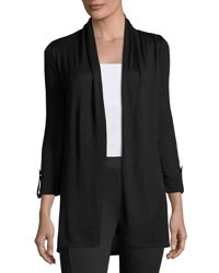 Joan Vass Tabbed Cuff 3 4 Sleeve Cardigan Black