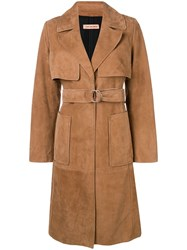 Yves Salomon Belted Midi Coat Brown