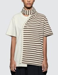 J.W.Anderson Jw Anderson Striped Jersey Tee With Draped Scarf