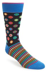 Bugatchi Men's Dot And Stripe Socks Midnight
