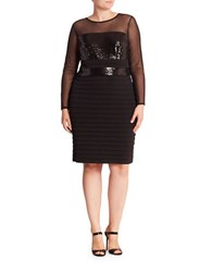 London Times Plus Sequin Panel Long Sleeved Sheath Dress
