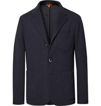 Barena Midnight Blue Mesola Slim Fit Unstructured Knitted Blazer Midnight Blue