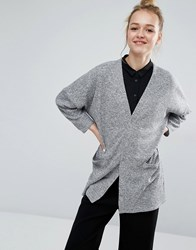 Monki Light Weight Knit Cardigan Black Grey