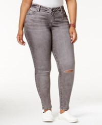 Slink Jeans Trendy Plus Size Ripped Rocky Grey Wash Skinny
