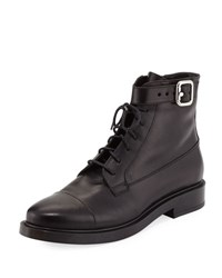 Tod's Lace Up Leather Combat Boot Black