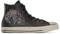 Converse Black Leather Studded High Top Sneakers