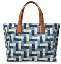 Loewe T Leather Trimmed Woven Denim Tote Bag Light Denim