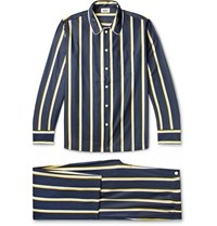 Sleepy Jones Henry Piped Striped Cotton Poplin Pyjama Set Blue