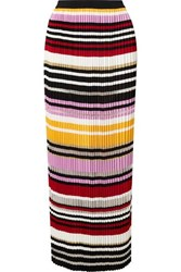Carolina Herrera Pleated Striped Knitted Maxi Skirt Pink
