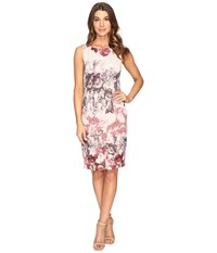 Adrianna Papell Romantic Rose Border Print Sleeveless Sheath Dress Shell Multi Women's Dress Gold