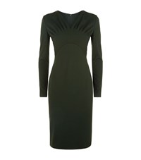 Escada Dlikki Ruched V Neck Dress Female Dark Green