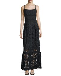 Elie Tahari Jill Lace Sleeveless Maxi Dress Black