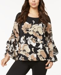 Alfani Plus Size Ruffled Sleeve Top Created For Macy's Neutral Spiga Floral