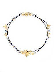 Azaara Blue Quartz Lapis And Pyrite Necklace Gold Multi