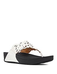 Fitflop Flora Tm Leather Thong Wedge Sandals White
