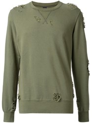 Miharayasuhiro Distressed Crew Neck Sweatshirt Green