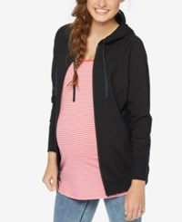 Motherhood Maternity Zip Front Hoodie Black