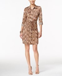 Ny Collection Petite Printed Shirtdress Apricot Haven