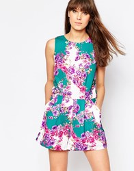 Traffic People Sass And Sunshine Playsuit In Floral Print Green