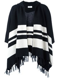 Frame Denim Striped Fringed Cape Coat White