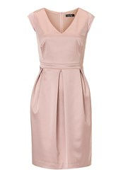 Vera Mont V Neck Satin Dress Rose
