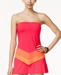 Coco Reef Colorblocked Bra Sized Underwire Scarf Tankini Top Women's Swimsuit Coral Multi