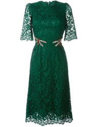 Dolce And Gabbana Embellished Floral Lace Dress Green