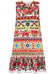 Dolce And Gabbana Mambo Print Peplum Dress Rose
