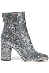 M Missoni Woman Glittered Leather Ankle Boots Silver