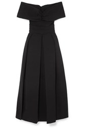 Preen By Thornton Bregazzi Daniela Off The Shoulder Ruched Cady Dress Black