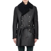 Leather And Shearling Double Breasted Coat Black