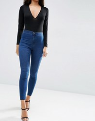 Asos Rivington Denim High Waist Jeggings In Amelia Dark Blue Wash Amelia