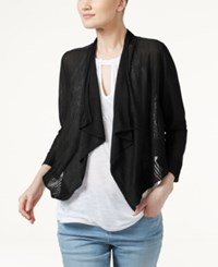 Inc International Concepts Linen Blend Cropped Cardigan Only At Macy's Deep Black